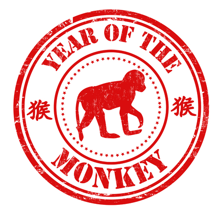 chinese postage stamp: Monkey chinese zodiac sign in grunge rubber stamp on white background, vector illustration Illustration