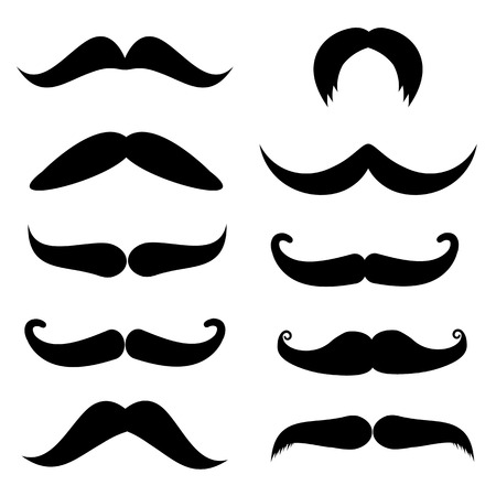 personal growth: Set of mustache on white background, vector illustration Illustration
