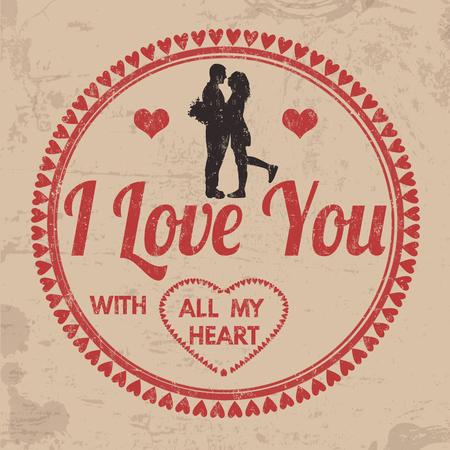 내가 사랑하는 모든 내 마음을 기호 또는 발렌타인 데이 또는 빈티지 그런 지 배경, 벡터 일러스트 레이 션에 결혼식에 대 한 레이블 일러스트