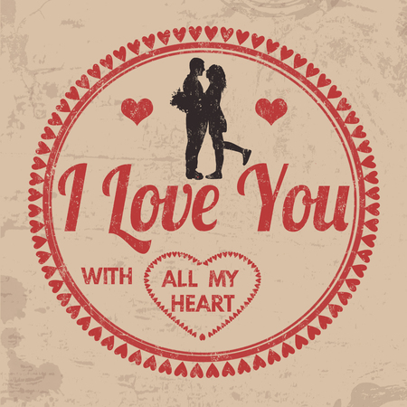 I Love You with All My Heart sign or label for Valentines day or wedding on vintage grunge background, vector illustration