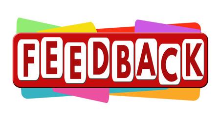 feedback label: Feedback banner or label for business promotion on white background,vector illustration
