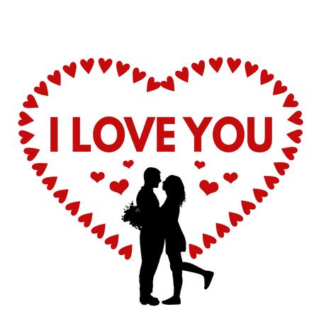 i label: I Love You sign or label for Valentines day or wedding on white background, vector illustration Illustration