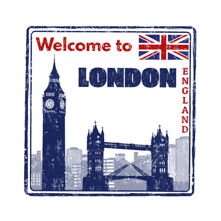 Welcome to London grunge rubber stamp on white background, vector illustration Иллюстрация