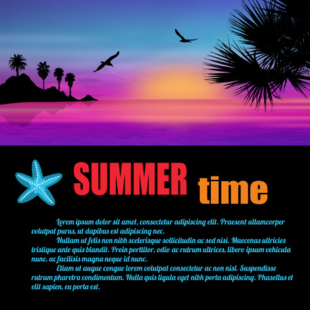 summer trees: Summer time poster. A beautiful island and palm trees on sunset with space for your text, vector illustration Illustration