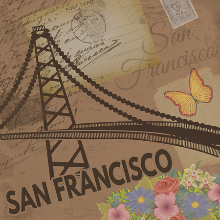 nostalgic: San Francisco vintage poster on nostalgic retro background with old post cards, letters and Golden gate bridge, vector illustration
