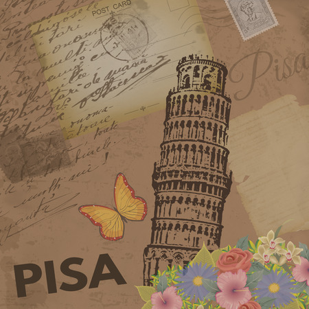 nostalgic: Pisa vintage poster on nostalgic retro background with old post cards, letters and Tower of Pisa, vector illustration