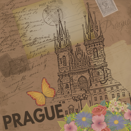 czech: Prague vintage poster on nostalgic retro background with old post cards and letters, vector illustration