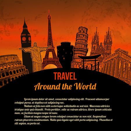 monumento: Viajar por todo el mundo, el cartel turístico de la vendimia en el fondo de color naranja con el espacio para su texto, ilustración vectorial