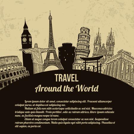 Viajar por todo el mundo, el cartel turístico de la vendimia en el fondo estilo retro con el espacio para su texto, ilustración vectorial