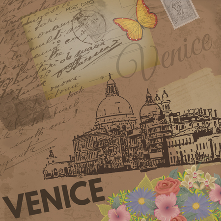 Venice vintage poster on nostalgic retro background with old post cards, letters and Grand Canal and Basilica Santa Maria, vector illustration