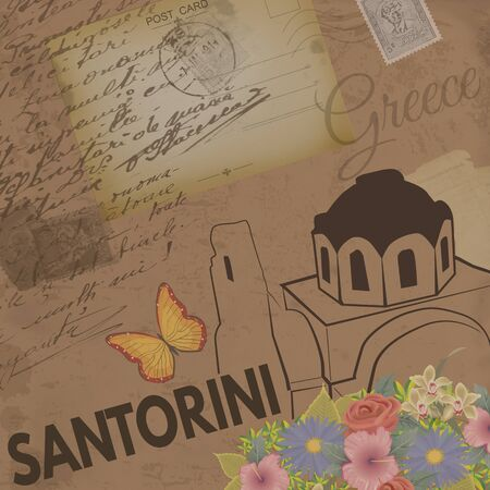nostalgic: Santorini vintage poster on nostalgic retro background with old post cards and letters, vector illustration