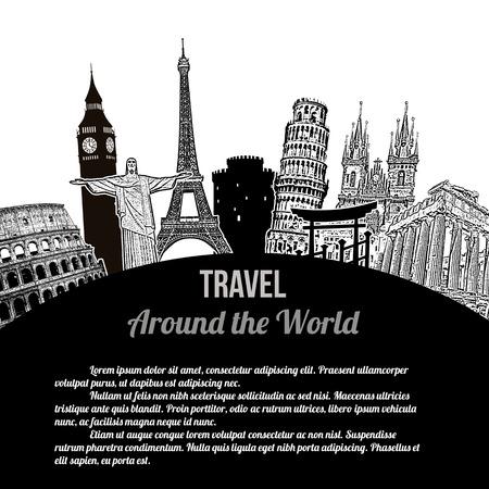 Reise um die Welt, Jahrgang touristischen Plakat auf weißem Hintergrund mit Platz für Ihren Text, Vektor-Illustration Vektorgrafik