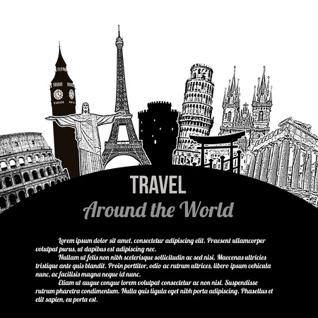monumento: Viajar por todo el mundo, el cartel turístico de la vendimia en el fondo blanco con el espacio para su texto, ilustración vectorial Vectores