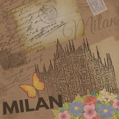 nostalgic: Milan vintage poster on nostalgic retro background with old post cards, letters and Cathedral of Milan, vector illustration