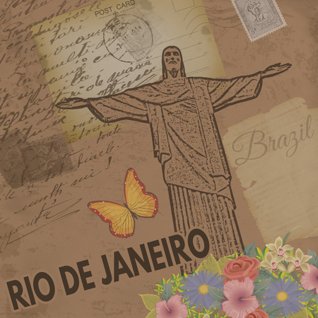 redeemer: Rio de Janeiro vintage poster on nostalgic retro background with old post cards, letters and Christ the Redeemer, vector illustration