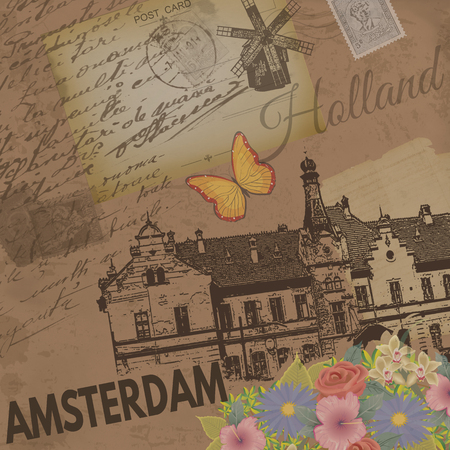 nostalgic: Amsterdam vintage poster on nostalgic retro background with old post cards and letters, vector illustration