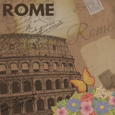 rome: Rome vintage poster on nostalgic retro background with old post cards, letters and Colosseum, vector illustration Illustration