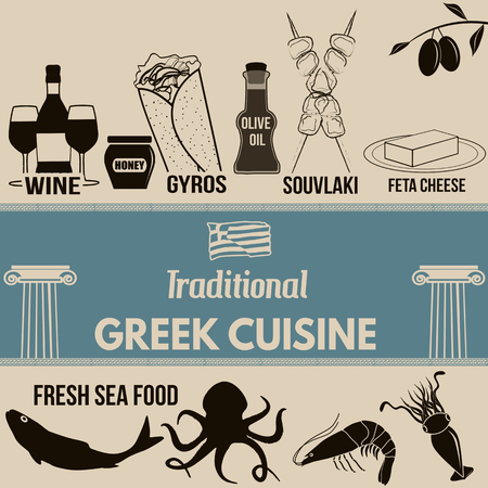 Traditional greek cuisine poster with greek food elements on retro background , vector illustration