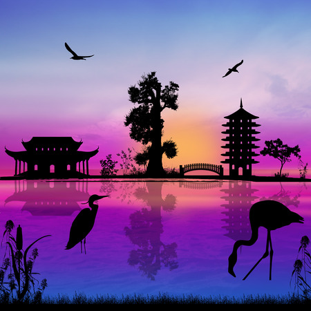 water animal bird card  poster: Beautiful asian landscape near water on sunset, vector illustration