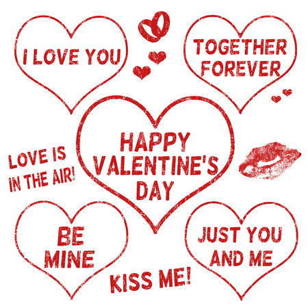 mail me: Collection of  Valentines Day grunge rubber stamps on white background, vector illustration