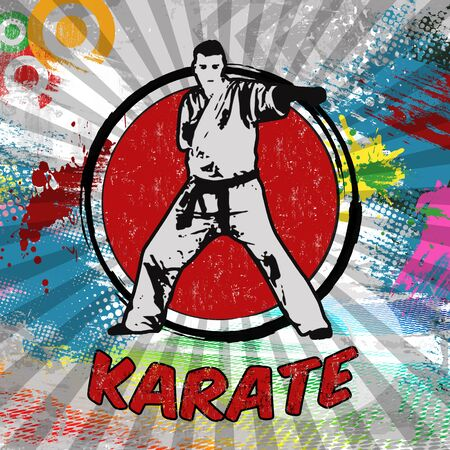 bushido: Karate poster design. Silhouette of karateka on abstract grunge background, vector illustration Illustration