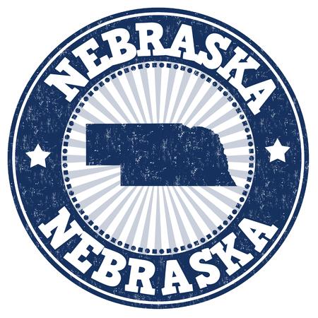 grunge rubber stamp: Grunge rubber stamp with the name and map of Nebraska, vector illustration