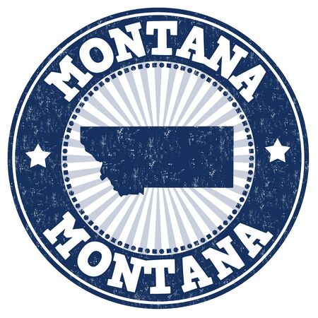 identifier: Grunge rubber stamp with the name and map of Montana, vector illustration
