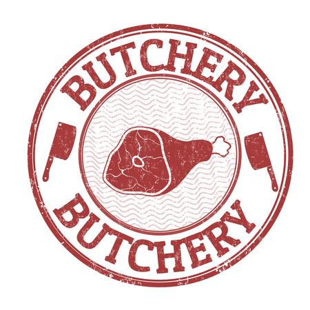 carnicería: grunge sello de goma carnicería en el fondo blanco, ilustración vectorial
