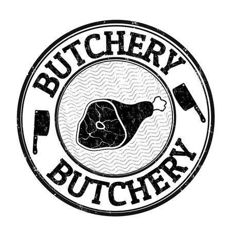 carnicer�a: grunge sello de goma carnicer�a en el fondo blanco, ilustraci�n vectorial