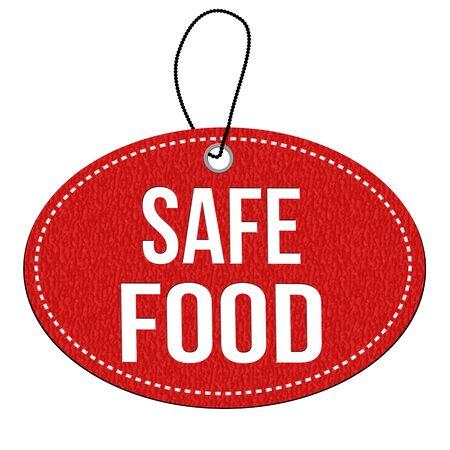 caja fuerte: alimentos seguros etiqueta de cuero rojo o etiqueta de precio en el fondo blanco, ilustración vectorial Foto de archivo