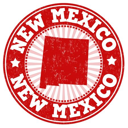 rubber: Grunge rubber stamp with the name and map of New Mexico, vector illustration