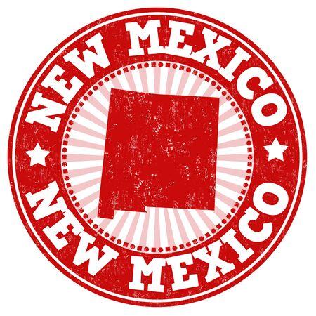 sello: Grunge sello de goma con el nombre y el mapa de Nuevo México, ilustración vectorial