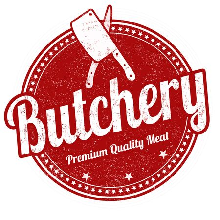 butchery: Butchery grunge rubber stamp on white background, vector illustration Stock Photo