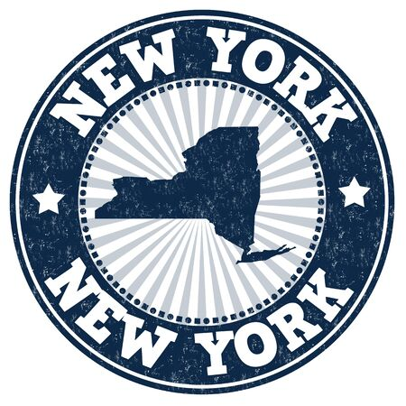 new york map: Grunge rubber stamp with the name and map of New York, vector illustration