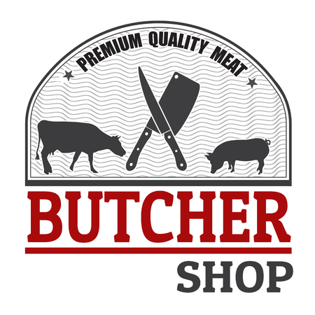 butchery: Sign or label for butchery or butcher shop on white background, vector illustration Stock Photo