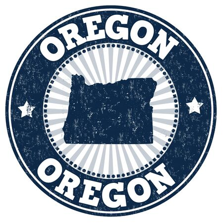 grunge rubber stamp: Grunge rubber stamp with the name and map of Oregon, vector illustration