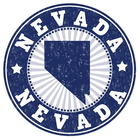 rubber: Grunge rubber stamp with the name and map of Nevada, vector illustration