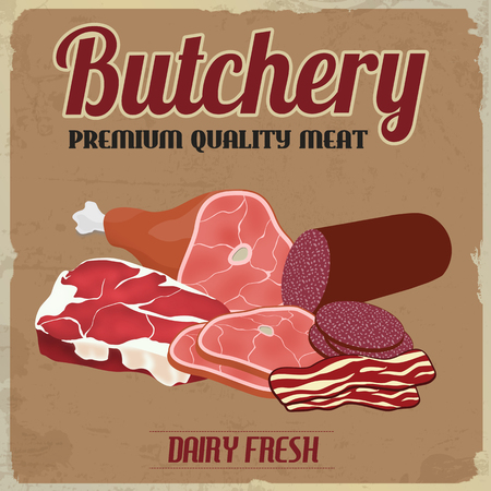 butchery: Butchery poster in vintage style on brown grunge background, vector illustration