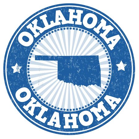 rubber: Grunge rubber stamp with the name and map of Oklahoma, vector illustration Stock Photo
