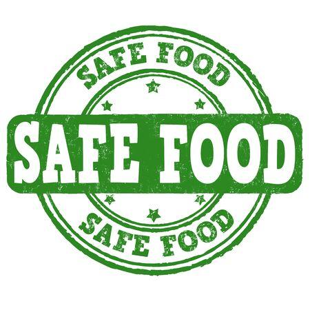 eco notice: Safe food grunge rubber stamp on white background, vector illustration Stock Photo