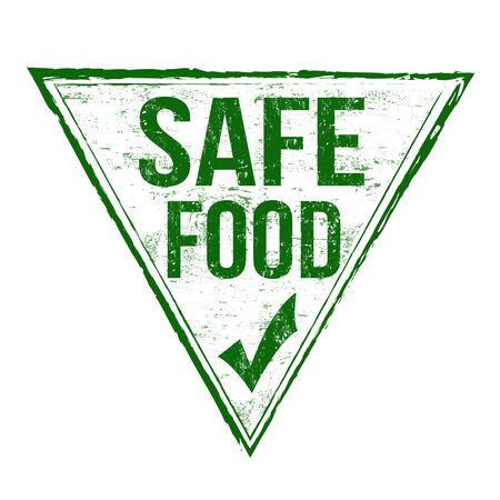 eco notice: Safe food grunge rubber stamp on white background, vector illustration Stock Photo