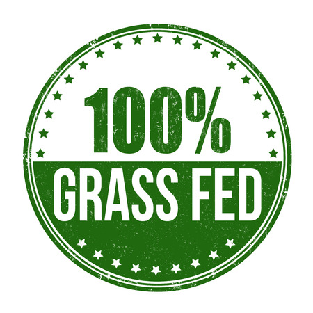 100 percent grass fed grunge rubber stamp on white background, vector illustration