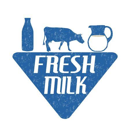 fresh milk: Fresh milk label or stamp on white backround, vector illustration Illustration