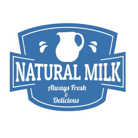 country farms: Natural milk label or stamp on white backround, vector illustration