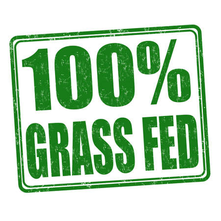 pastures: 100 percent grass fed grunge rubber stamp on white background, vector illustration