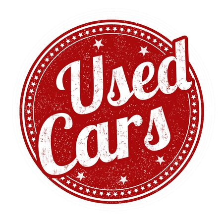 Used cars grunge rubber stamp on white background, vector illustration