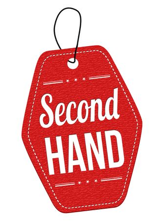 second hand: Second hand red leather label or price tag on white background, vector illustration