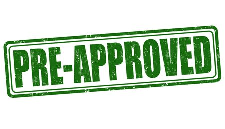 approved stamp: Pre-approved grunge rubber stamp on white background, vector illustration