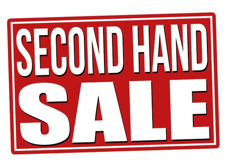 Gebrauchte Verkauf rotes Schild auf einem weißen Hintergrund, Vektor-Illustration