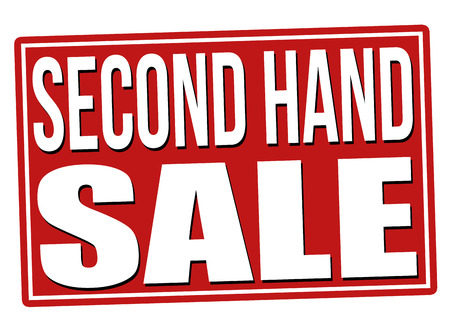 Second hand sale red sign isolated on a white background, vector illustration Illustration